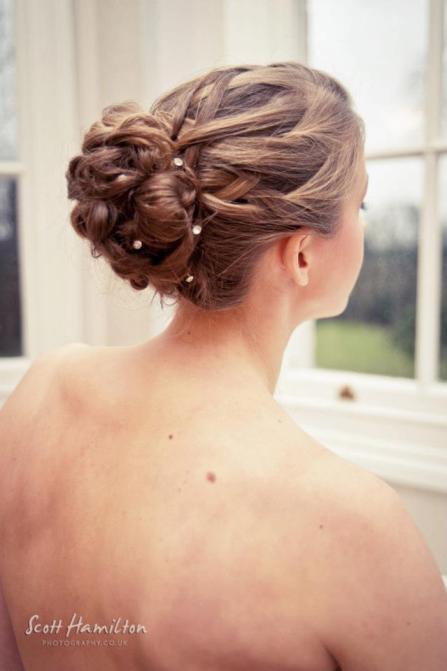 Bridal Hair Up plaits and diamonte