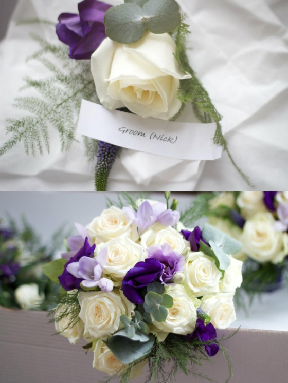 Purple and Cream Wedding Bouquet and Buttonhole
