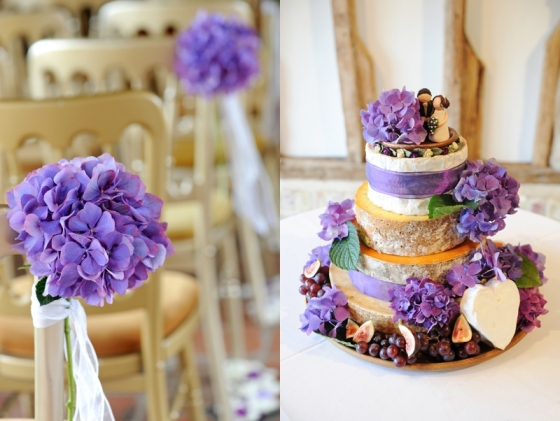 Cheesecake Wedding Cake with Purple Flower Decoration