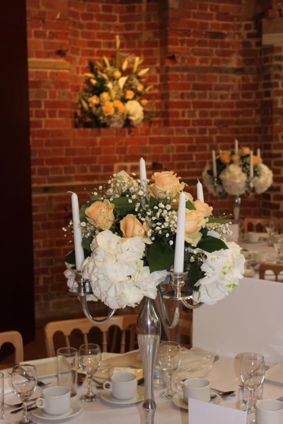 Cream and White Flower Candelabra Centrepiece