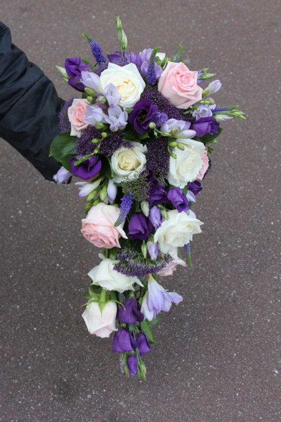 Beautiful pinks lilacs and purple shower wedding bouquet