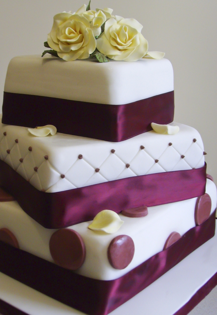 Burgundy And Ivory 3 Tiered Wedding Cake