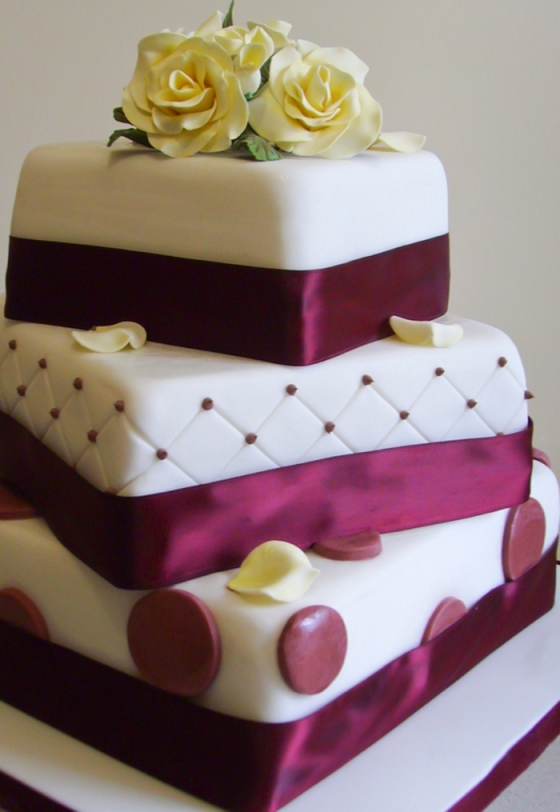 Burgundy and Ivory 3 Tiered Wedding Cake