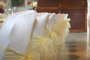 Chair Covers with Gold Sashes