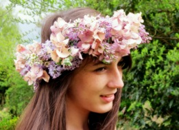 lilac & hydrangea circlet willow and thyme