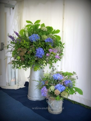 Summer Garden Wedding Flowers in Vintage Containers