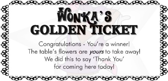 Flowers Wonkas Golden ticket