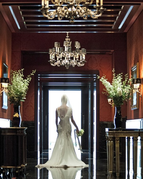 Bride Entering Wedding Ceremony Room at The Four Seasons Hotel Park Lane