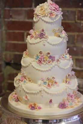 Delicate Multicoloured Mini Flower Wedding Cake