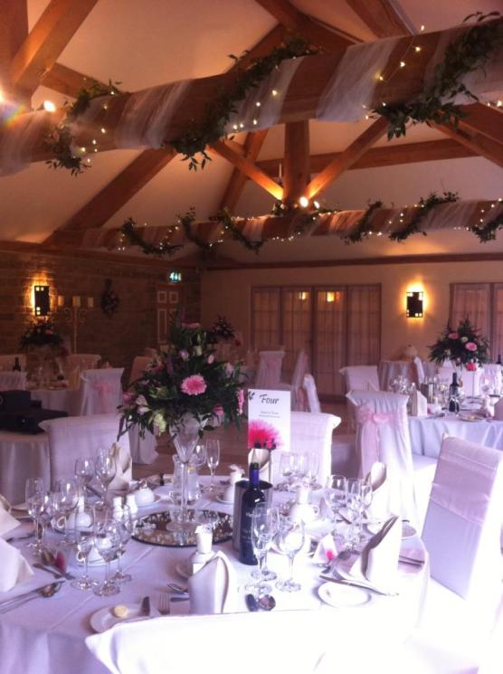 Wedding Breakfast setting at The Tally Ho Hotel Oxfordshire