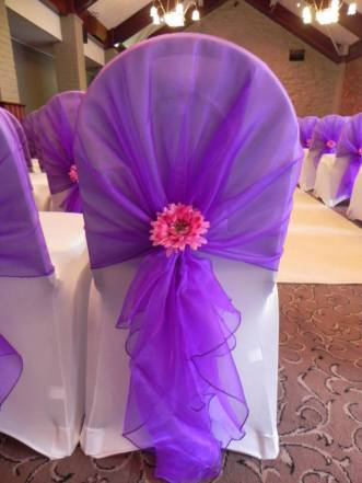 1. Chair Cover with Flower Detailing