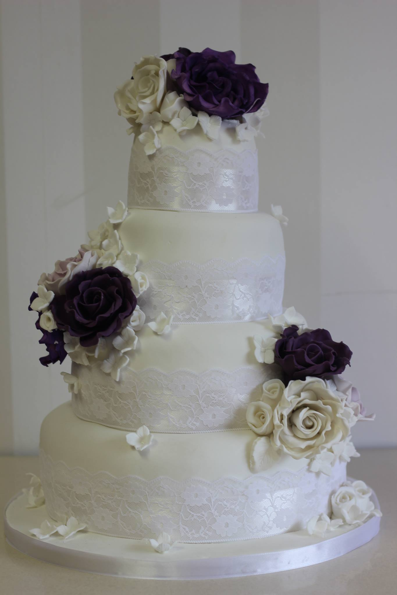 Purple and White 4 tier Wedding Cake Yummy Mummys Cakes
