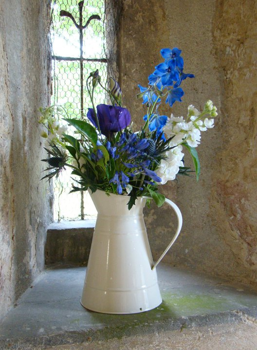 Blue Vintage Wedding Flower Jug Display