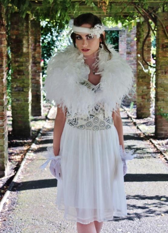 1920s Flapper Style Wedding Dress Black Pearl Weddings