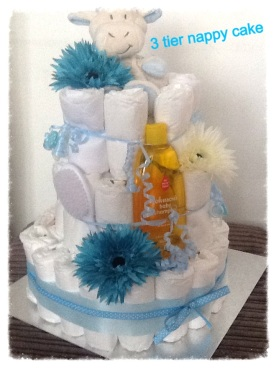 3 tier blue nappy cake