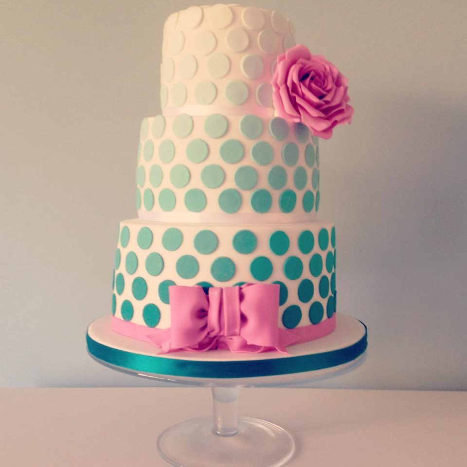 Green and Pink bow ombre polka dot wedding cake The Pretty ...