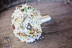 Green Gold and Pink Crystal Bouquet LOVE Bouquets