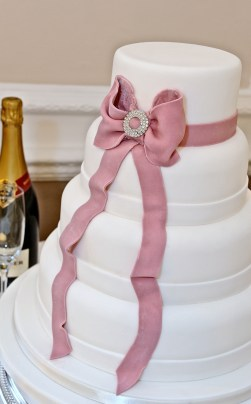 Cakes by Shelly pink bow wedding cake