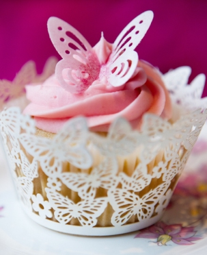 Pink Cupcake with Butterfly Pink Tea Parties