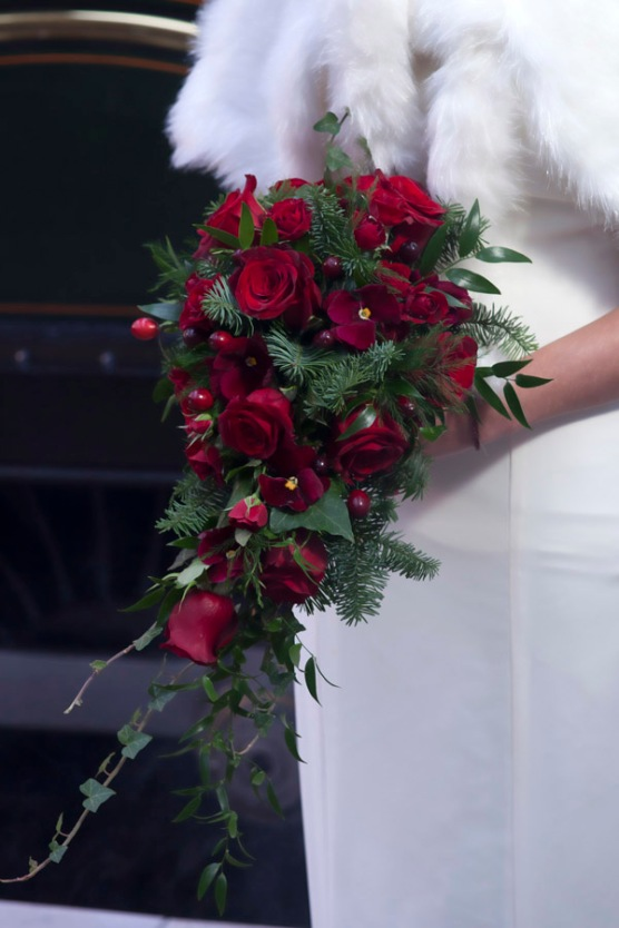 Red Rose Christmas Shower Wedding Bouquet