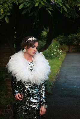 Sparkly Party Dress with Feather Wrap Black Pearl Weddings