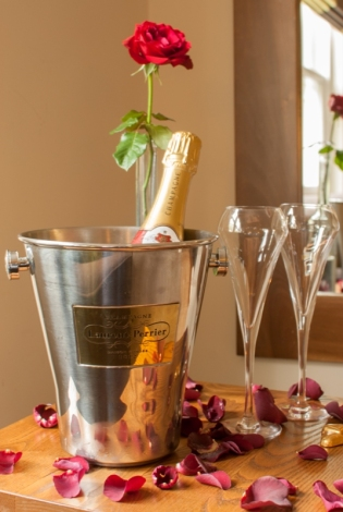 Single Red Rose and Champagne Flutes The Green House Hotel Bournemouth