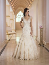Stella York Bridal Gown with Lace V Neckline fishtail design