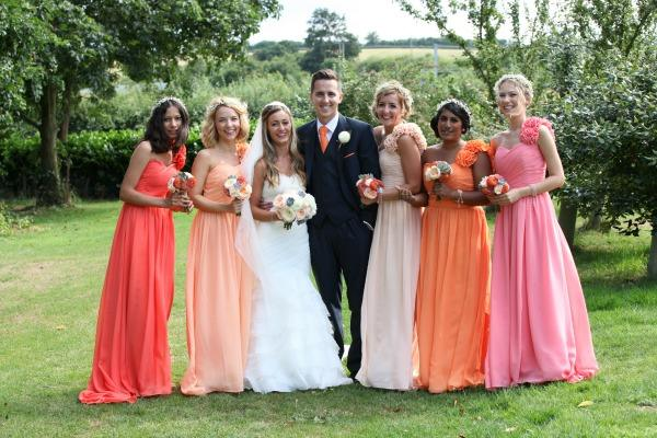 peach ombre bridesmaid dresses bouquets from wild orchid